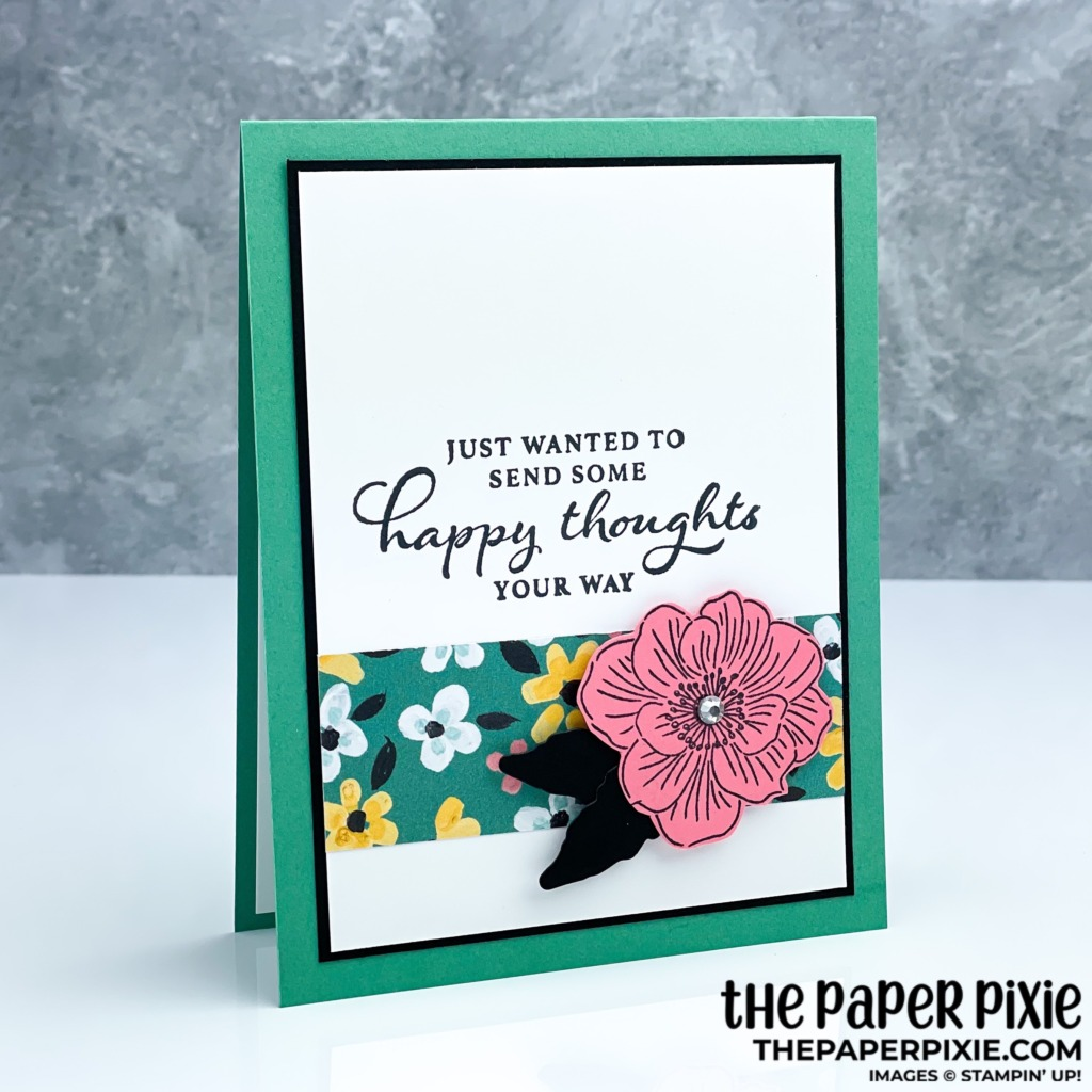 This is a handmade card stamped with the Happy Thoughts Stampin' Up! stamp set and the sentiment says just wanted to send some happy thoughts your way.