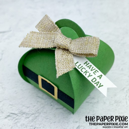 This is a handmade card die-cut with the Mini Curvy Keepsakes and All Dressed UP Stampin' Up! DIES and the sentiment says have a lucky day.