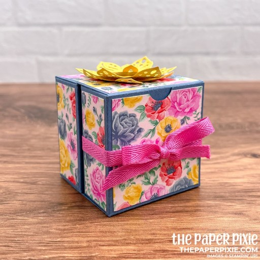 This is a handmade double folder box made with the Delicate Petals Stampin' Up! bundle and the sentiment says thank you for your kindness.