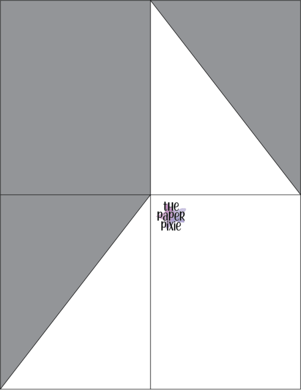 This is a template created by the Paper Pixie to go along with the video tutorial to assist you in making the Diagonal Double Fold Card.