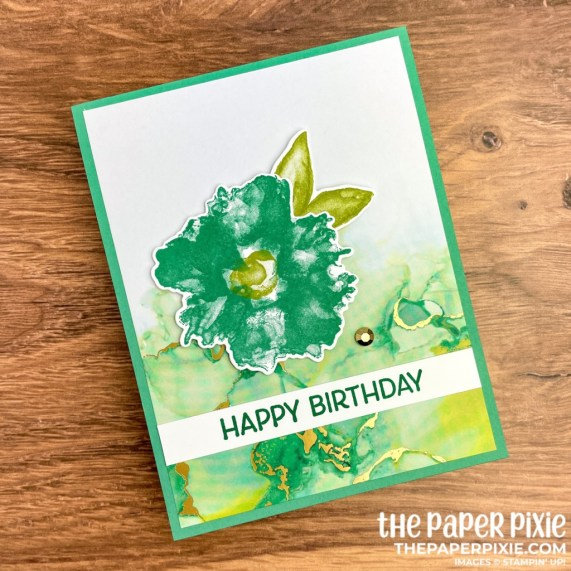 This is a handmade one sheet wonder card set made with the Expressions in Ink Stampin' Up! product suite and the sentiment says happy birthday.