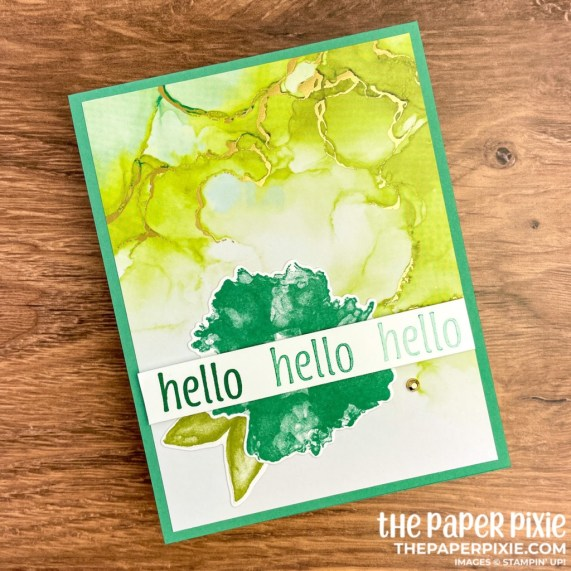 This is a handmade one sheet wonder card set made with the Expressions in Ink Stampin' Up! product suite and the sentiment says hello.