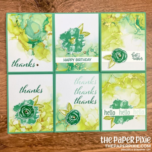 This is a handmade one sheet wonder card set made with the Expressions in Ink Stampin' Up! product suite and the sentiment says various sentiments.