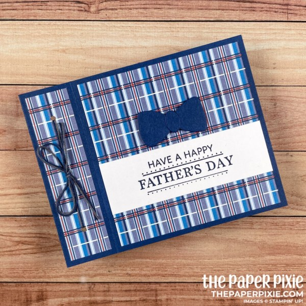 This is a handmade book fold card made with the Well Suited Stampin' Up! product suite and the sentiment says have a happy father's day.