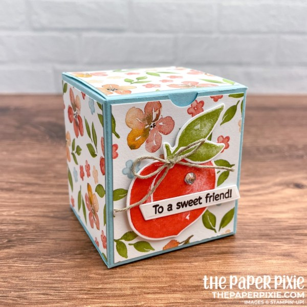 This is a handmade Mini Jam Jar Box made with the You're a Peach Stampin' Up! product suite and the sentiment says to a sweet friend.