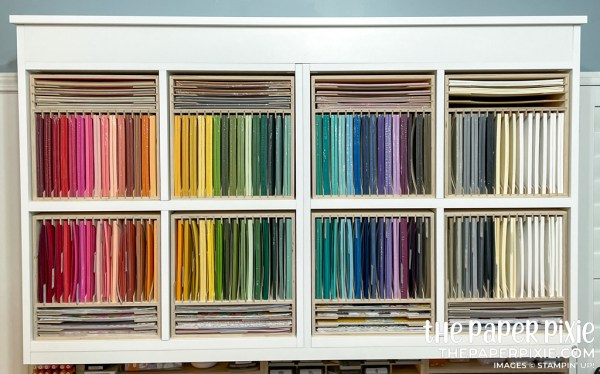This is a picture of Stampin' Up! cardstock in rainbow order.