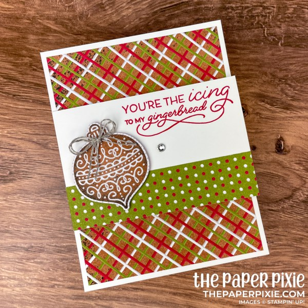 This is a flap fun fold card made with the Frosted Gingerbread Stampin' Up! bundle and the sentiment says you're the icing to my gingerbread