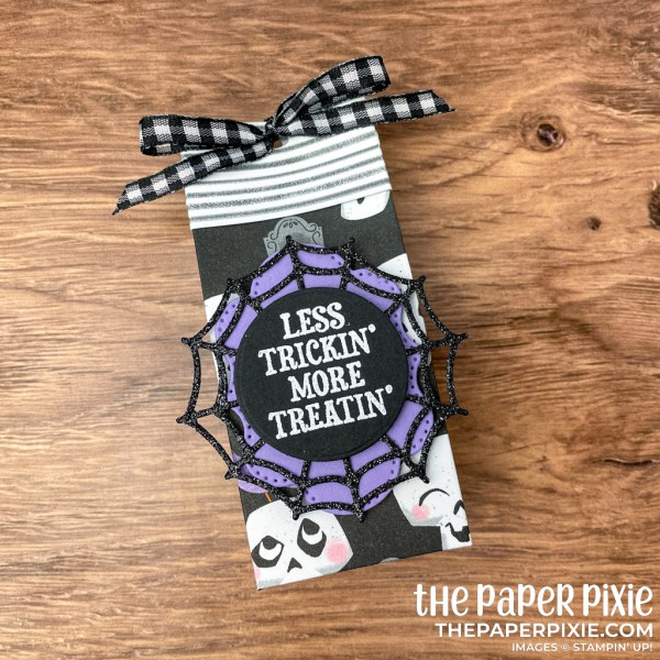 This is a mini gift bag made with the Frightfully Cute Stampin' Up! bundle and the sentiment says less trickin' more treatin'