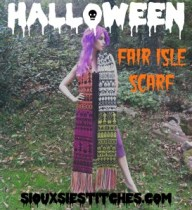 Halloween Pattern Fair Isle Scarf By: siouxsiestitches.com