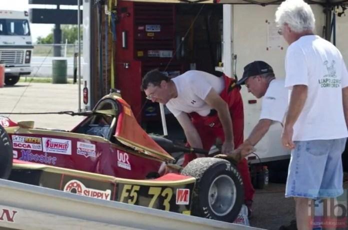 Vincent unloads his broken F500 racer.