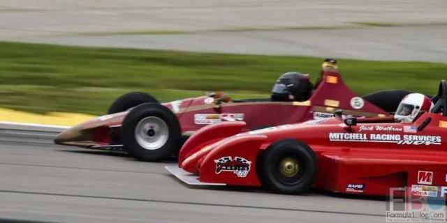 Dave Vincent gets his #73 Formula 500 a nose ahead of John Walbran's #67.
