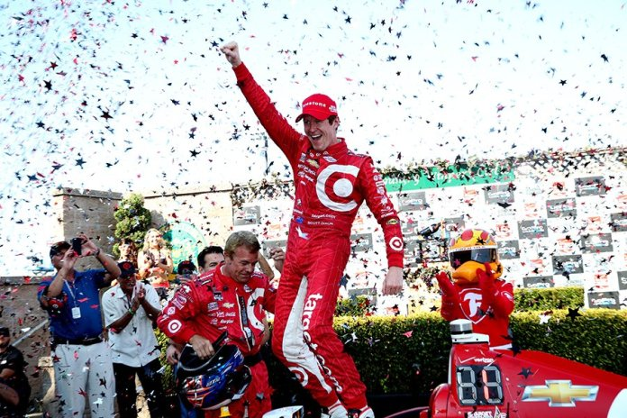 Scott Dixon celebrates victory in Victory Lane in the GoPro Grand Prix of Sonoma and the 2015 Verizon IndyCar Series Championship -- Photo by: Chris Jones