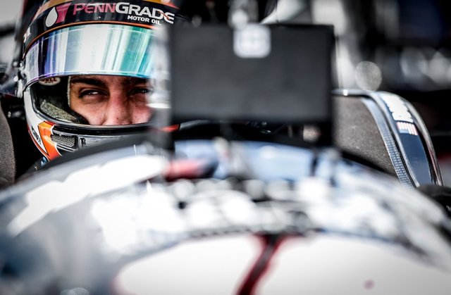 Graham Rahal sits in his No. 15 PennGrade Honda on pit lane during practice for the Honda Indy Grand Prix of Alabama at Barber Motorsports Park -- Photo by: Shawn Gritzmacher