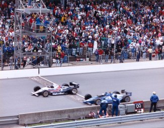 Al Unser, Jr. edges Scott Goodyear by less than a car length at the 1992 Indianapolis 500 Mile Race -- Photo courtesy of IMS Photo