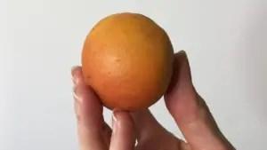 A hand holding a peach