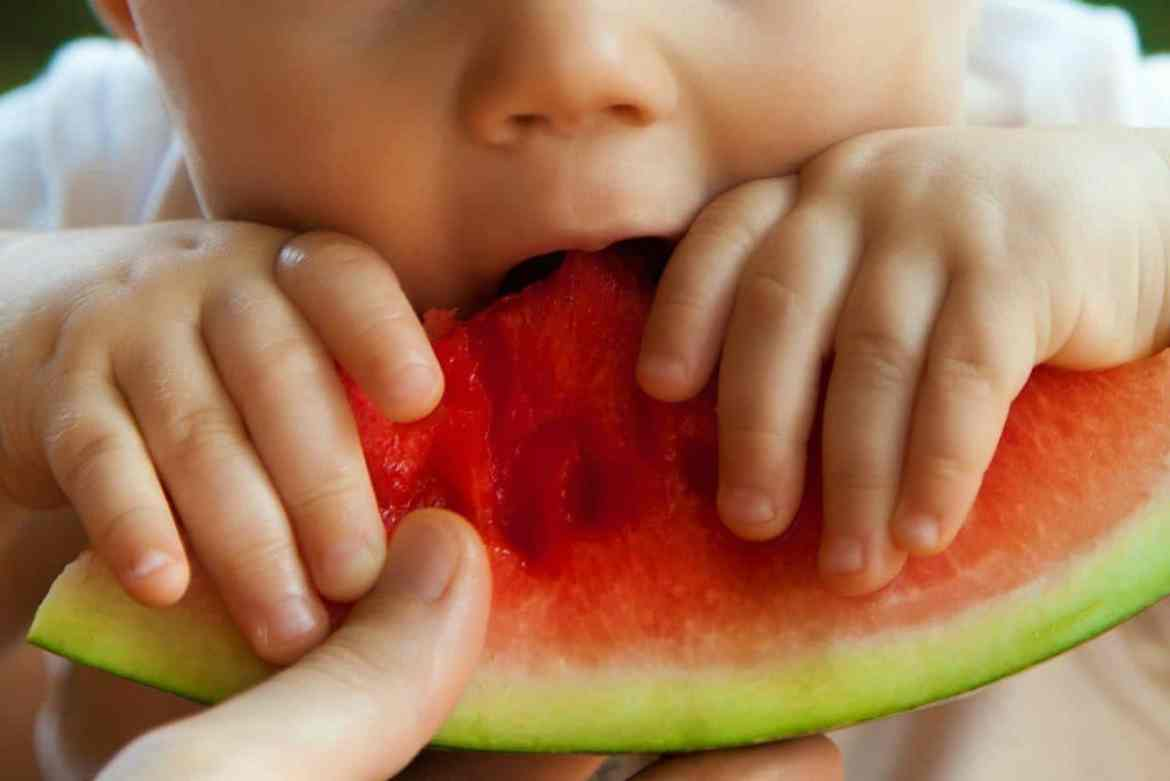 Close up of a baby eating watermelon