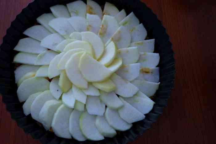 Sliced apples in a spiral in a tart tin