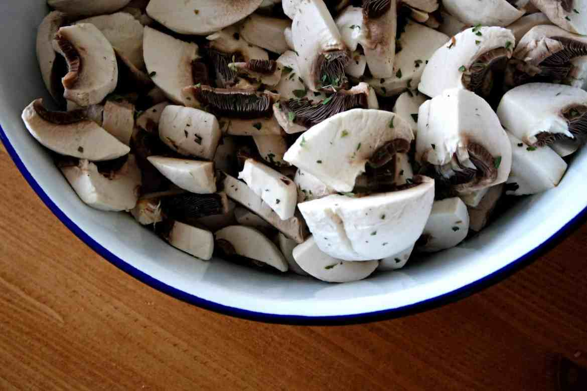 Mushrooms covered in parsley