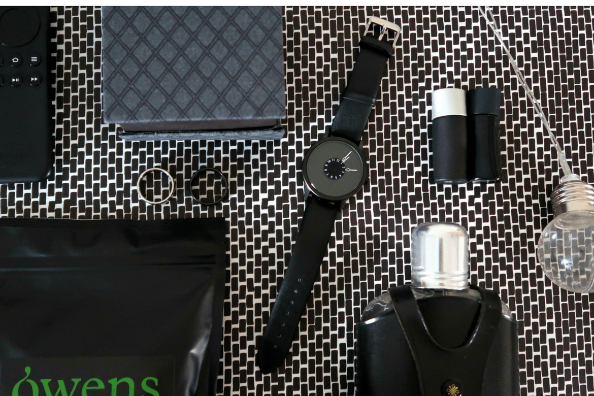 Father's day gift ideas black watch on monochrome background