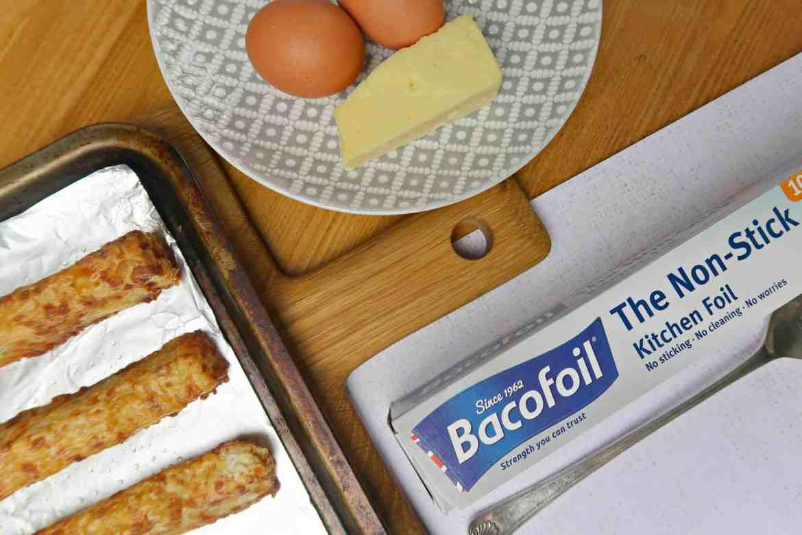 Bacofoil kitchen foil box next to eggs and homemade cheese twists