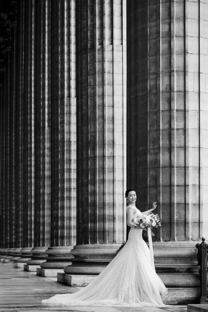 paris pre wedding photography - bridal portrait at La Madeleine in Paris