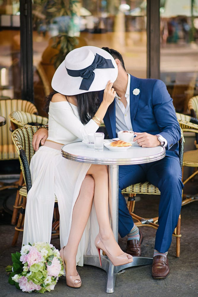 proposal in paris - celebrating with a parisian breakfast including croissants and cappuccino