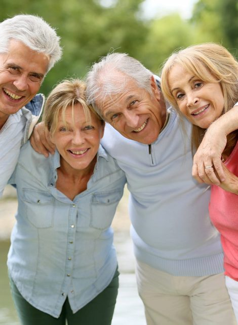 Senior couples having a good time in countryside