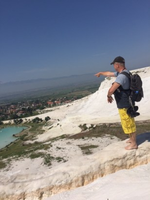 Steve does his 'Man at C&A' pose at Pamukkale.