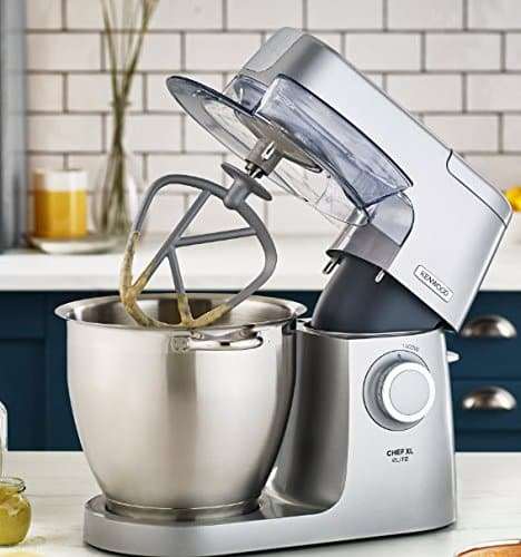 Kenwood Chef Elite XL Stand Mixer for Baking Powerful Large Food Mixer with K beater Dough Hook Whisk and 67 Litre Bowl 1400 W KVL6100S Silver 0 1