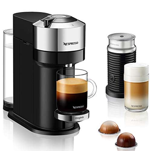 Nespresso Vertuo Next Deluxe By Magimix Coffee Capsule Machine With Aeroccino Milk Frother Chrome 11713 0