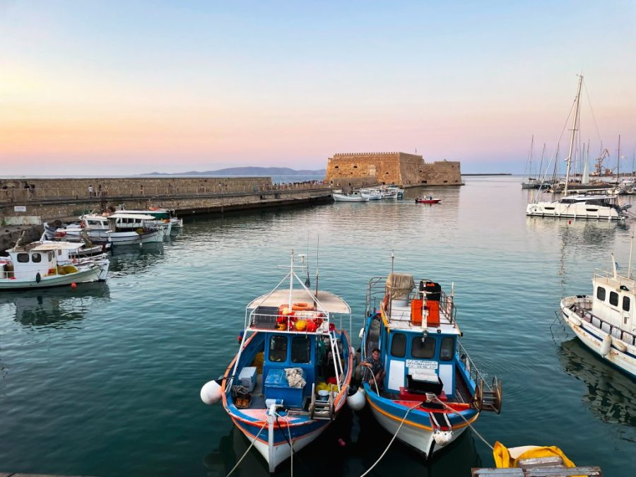 heraklion sunset crete greece