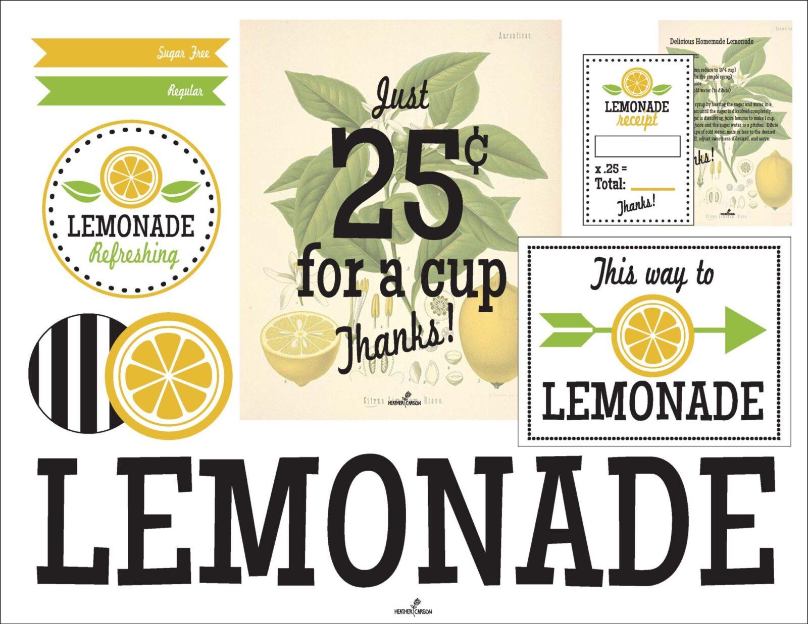 Freebie Friday Lemonade Stand Free Printables