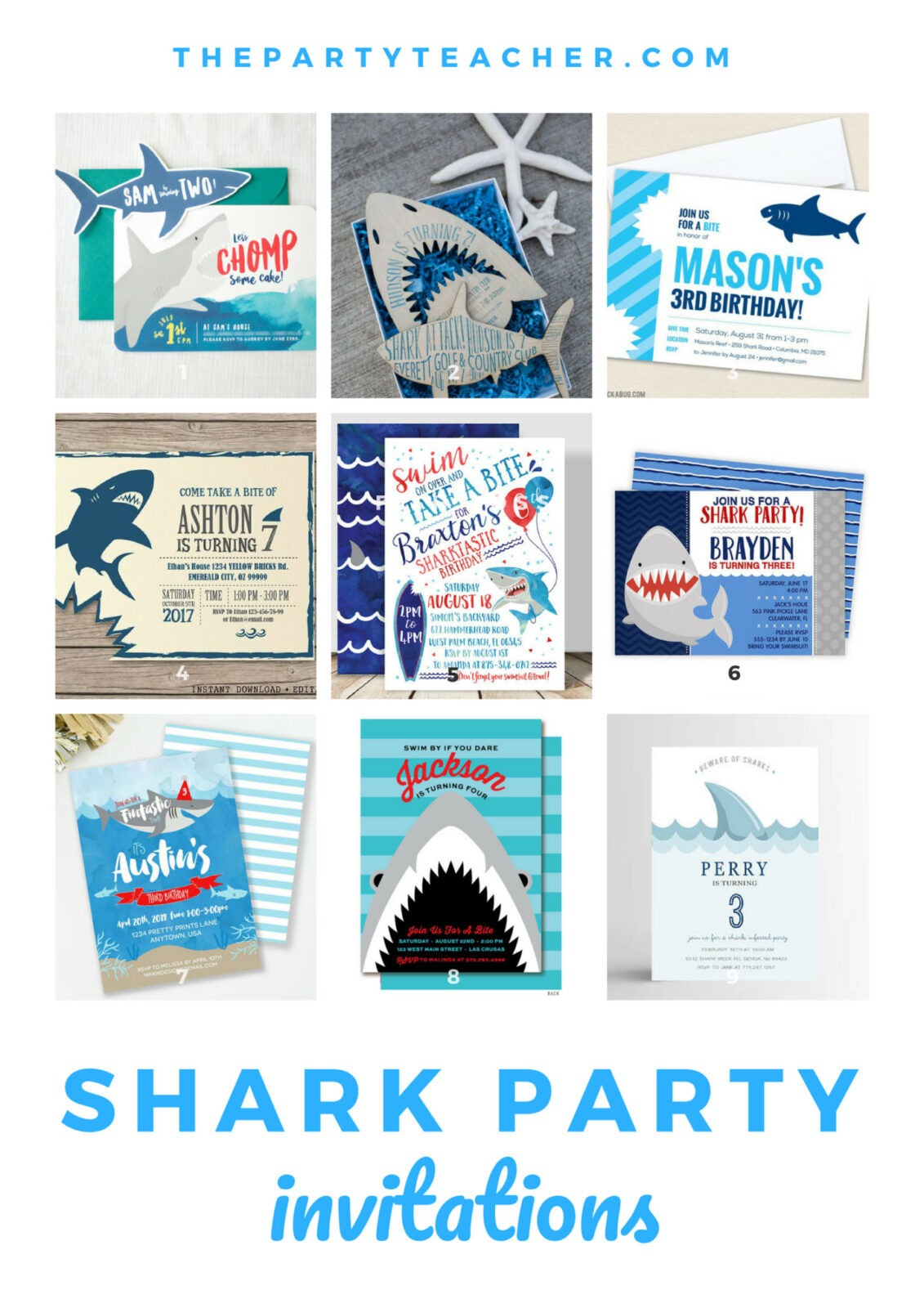 Shark Birthday Party Invitation Ideas From The Party