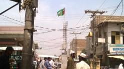 Flag of Punjabi Taliban waving in the main city of Bannu