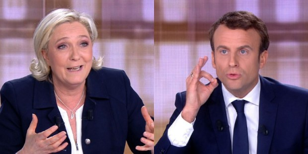(COMBO) A combination of video grabs from an AFP video taken on May 3, 2017 during a live brodcast televised debate in television studios of French public national television channel France 2, and French private channel TF1 in La Plaine-Saint-Denis, north of Paris, shows French presidential election candidate for the far-right Front National (FN) party, Marine Le Pen (L) and French presidential election candidate for the En Marche ! movement Emmanuel Macron talking during a face to face debate ahead of the second round of the French presidential election. Pro-EU centrist Emmanuel Macron and far-right leader Marine Le Pen face off in a final televised debate on May 3 that will showcase their starkly different visions of France's future ahead of this weekend's presidential election run-off.  / AFP PHOTO / STRINGER
