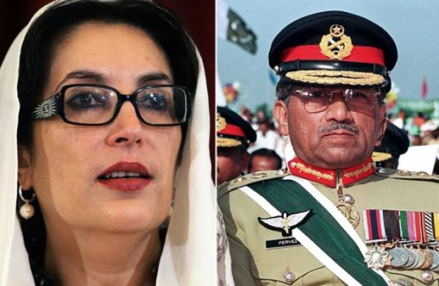 Combination of file pictures shows former Pakistan prime minister and chairperson of the Pakistan People's Party (PPP) Benazir Bhutto, left, and Pakistan's former military ruler Pervez Musharraf , rightAFP