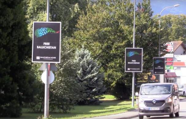 'Free Balochistan' posters in Switzerland | Twitter/The Nation