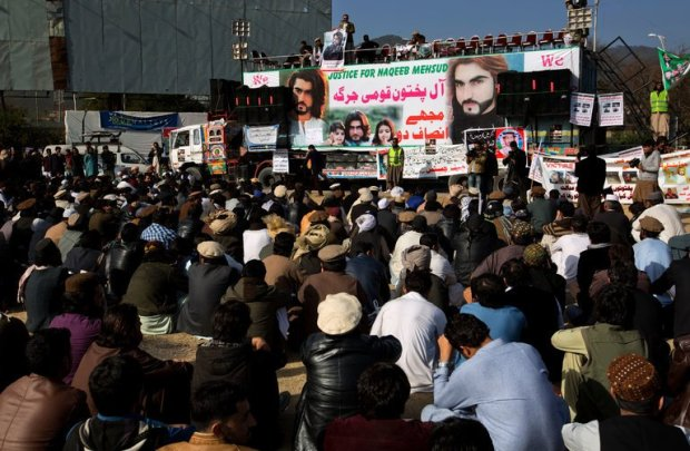 """Demonstrators in Islamabad, Pakistan, last week. The police shooting of Naqeebullah Mehsud, an aspiring model, was """"the tipping point"""" for ethnic Pashtuns angry about years of mistreatment by the state, a Pakistani newspaper editor said. Credit B.K. Bangash/Associated Press"""