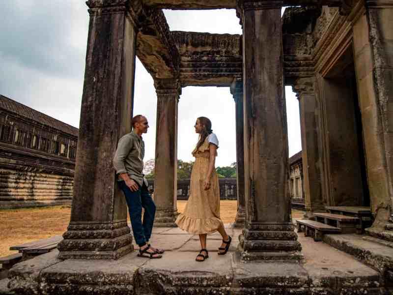 Couple on temple at Angkor Wat