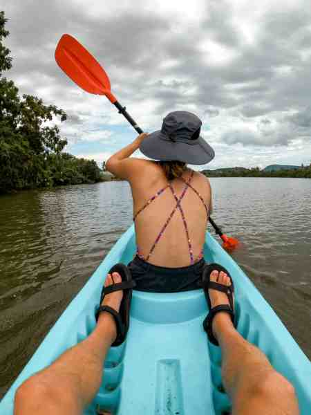 Alicia Kayaking for Exercise in Kampot, Cambodia