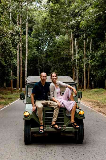 Alicia & Nate Sitting on Jeep with Tour in Siem Reap