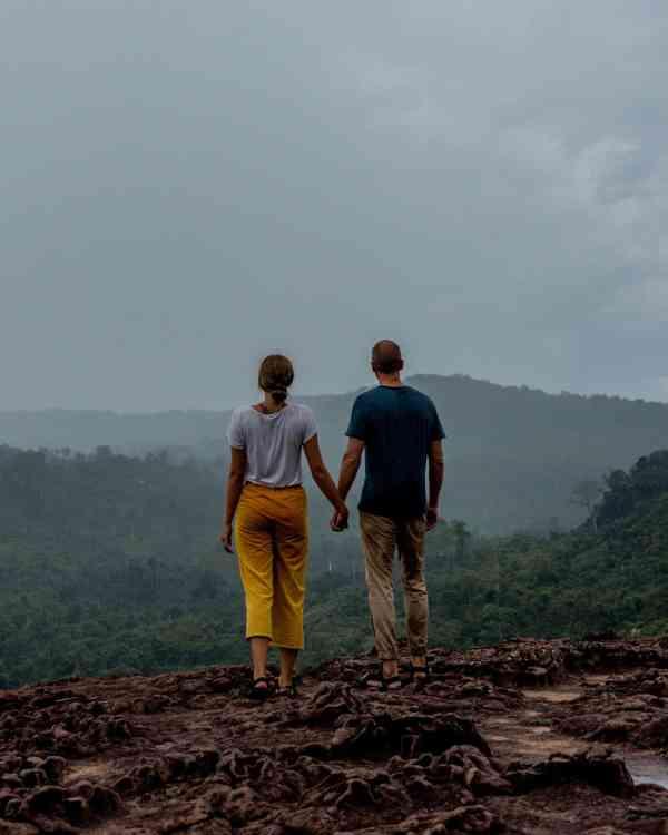 Alicia & Nate Overlooking Phnom Kulen National Park