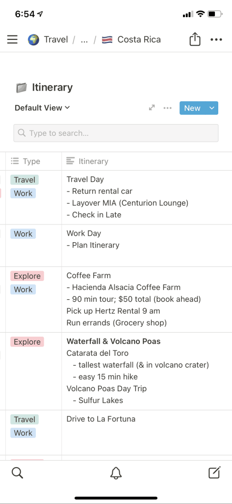 Screenshot of Itinerary for Costa Rica in The Passport Couple's Travel Itinerary Template