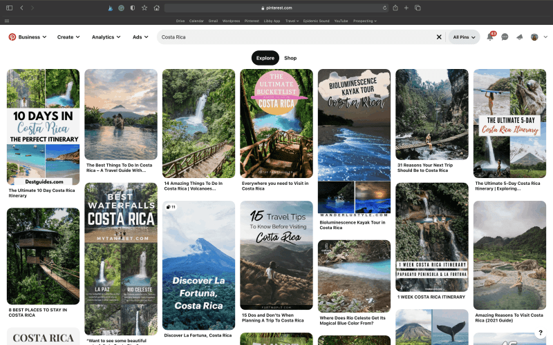 """Screenshot of Pinterest Search for """"Costa Rica"""""""