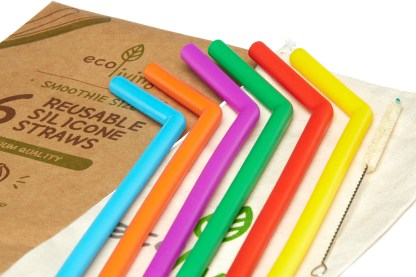colourful smoothie straws close up