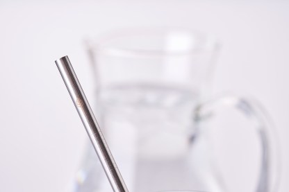 stainless steel straw close up