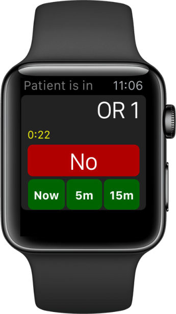 From the main watch app, the doctor can reject the assignment or accept it and provide an estimated time of arrival