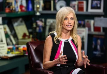 "Kellyanne Conway, president and chief executive officer of Polling Co. Inc./Woman Trend, speaks during an interview on ""With All Due Respect"" in New York, U.S., on Tuesday, July 5, 2016. Asked how Trump reassures conservatives about his positions on issues such as abortion without losing ground with voters in the center, Republican pollster Conway, one of Trump's new senior strategists, said he would work to shift the spotlight to Clinton. Photographer: Chris Goodney/Bloomberg via Getty Images"
