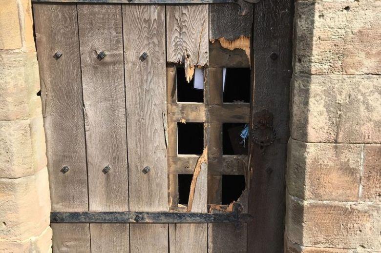 Church doors attacked by burglars (Image: Breedon Parish Church)
