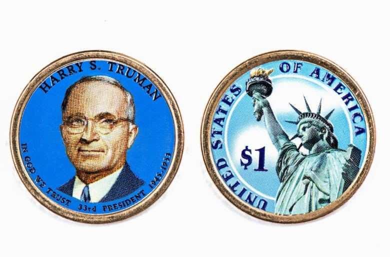 Harry S. Truman Presidential Dollar, USA coin a portrait image of HARRY S. TRUMAN in God We Trust 33rd PRESIDENT 1945-1953